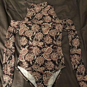 Floral turtleneck cold shoulder bodysuit
